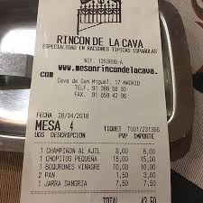 Miguel S Nutrition Chart Photo0 Jpg Picture Of Meson Rincon De La Cava Madrid