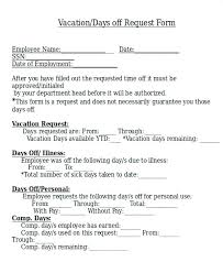 Personal Time Off Request Form Vacation Day Off Request Form Free Printable Time Personal Download