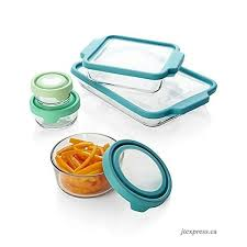 anchor hocking truefit bakeware and trueseal glass food storage containers with lids mixed blue 10 piece