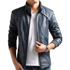 men blue pu leather jacket