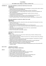 Commercial Services Manager Resume Samples Velvet Jobs