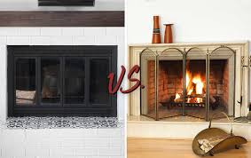 fireplace glass doors vs screens