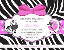 Baby Girl Purple Pink Zebra Bow U2013 Zebra Baby Shower InvitationsPink Zebra Baby Shower Invitations