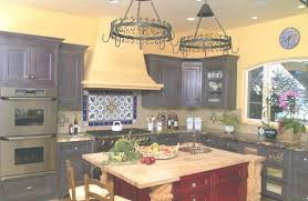 yellow wall color with reddish brow kitchen island design for intended for mexican wrought iron