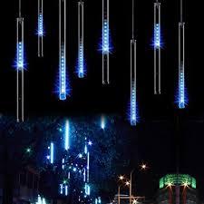 outdoor christmas lighting. OMGAI LED Meteor Shower Rain Lights - Waterproof Drop Icicle Snow Falling Raindrop 30cm 8 Tubes Cascading For Wedding Xmas Home Décor, Outdoor Christmas Lighting