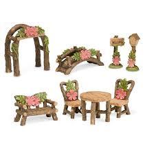 furniture fairy. Miniature Fairy Garden Hibiscus Accessories, 8-Piece Set | Gardens Furniture S