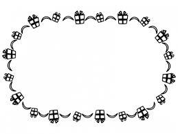 プレゼント箱の白黒囲みフレーム飾り枠イラスト 無料イラスト かわいい