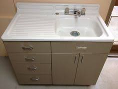 1950 s vintage kitchen sink unit with stainless steel top and