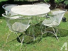wrought iron wicker outdoor furniture white. Shabby Vintage 5-pc White Wrought Iron Patio Set For Sale In Grants Pass, Oregon Wicker Outdoor Furniture N
