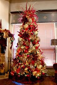 ... Delectable Look Of Red And Gold Christmas Tree Decorating Ideas :  Charming Design Ideas Using Rounded ...