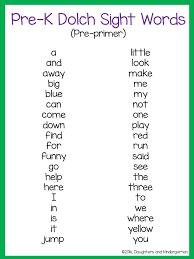 Kindergarten Sight Word List Printable – Scalsys