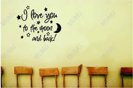 i love you to the moon and back cute baby nursery wall art wall sayings vinyl decal quote sticker home decal 22 18 in wall stickers from home garden on  on wall art words for nursery with i love you to the moon and back cute baby nursery wall art wall