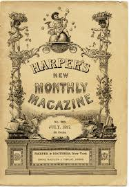 harpers new monthly magazine, aged book cover, shabby digital page ...