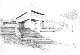 architecture house sketch. Fine Sketch Modern Architecture Drawing House Reaching Out To The Bay  Sketch C