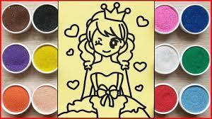 TÔ MÀU TRANH CÁT CÔNG CHÚA TRÁI TIM - Colored sand painting princess heart  (Chim Xinh) - YouTube
