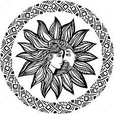 чешские руки Drawn солнце луна татуировка дизайн векторные