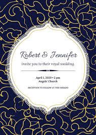 Royal Invitation Template Blue White Gold Portrait Floral Elegant Royal Wedding