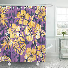 emvency shower curtains 78 x 72 inches accessory hawaiian pattern all aloha bamboo bunting flower graphic hibiscus waterproof polyester fabric decor