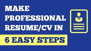 How To Make Professional Resume In 6 Easy Steps Make Cv