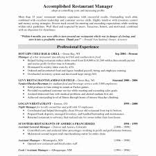 Restaurant Assistant Manager Resume Modest Resume Templates