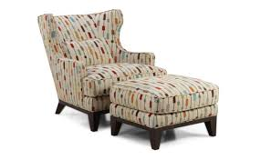Leather Accent Chair With Ottoman Wingback Accent Chair And Ottoman With Attractive Pattern Fabric