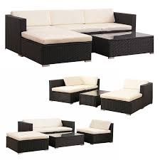 costway 5 pcs patio furniture set rattan wicker table shelf garden sofa w cushion brown