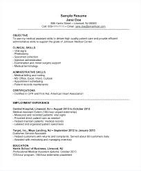 Resume Examples For Medical Assistant Mesmerizing Resume Outline Examples Medical Assistant Resume Samples Objective