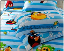 full and queen blue angry birds quilt cover and sheet boys bedding sets