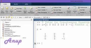 matlab solver simultaneous equation