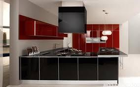 Red White And Black Kitchen Ideas Rectangular Brown Modern Veneer Island  Grey Soft Marble Flooring Built