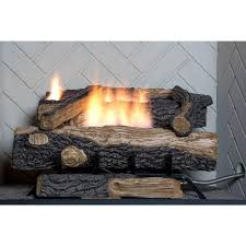 emberglow oakwood vent free propane gas fireplace logs fire log set thermostat 761644502205