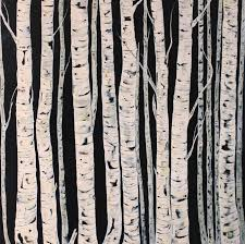 birch trees painting deep canvas 40 x 40 acrylic