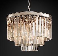 restoration hardware 1920s odeon clear glass fringe 3 tier chandelier real 1 of 1 see more