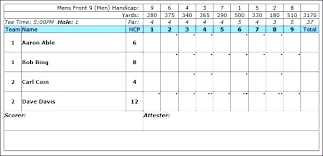 Golf Score Card Template Golf Score Card Template League Excel Spreadsheet Best Of 6