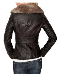 womens brown faux leather jacket