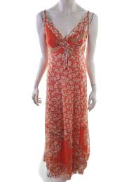 Details About Mexx Womens Size S Orange Long Sheath Dress Spaghetti Strap Flowers V Neck