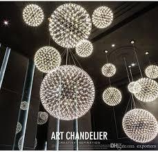 led pendant lamp light firework stainless steel ball chandelier lights restaurant villa hotel lighting living room ceiling hanging lights pendants lights