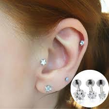 Gioielleria Di Moda Ear Stud Star Zircon Prong Set Top Internamente Filettato Piercing Al Collo Daith Cartilage Helix Piercing Orecchini