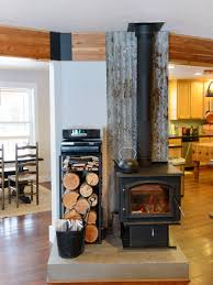 eclectic open concept um tone wood floor living room photo in seattle with a wood stove
