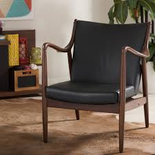 baxton studio shakespeare mid century black faux leather upholstered accent chair 28862 6805 hd the home depot