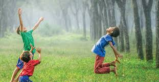 children playing in nature