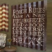 corrugated metal signs porch rules large corrugated metal sign corrugated metal bar signs