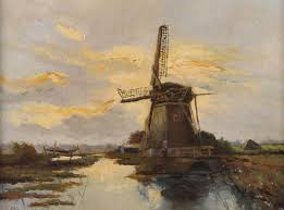 windmill in a landscape holland