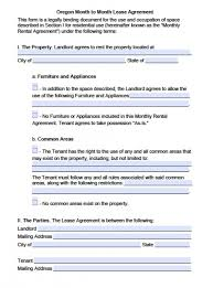 Oregon Residential Lease Agreement Template Parsyssante