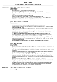 Body Shop Manager Resume Samples Velvet Jobs