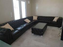 dark brown leather couch coffee table