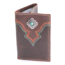 nocona mens western small tri fold leather cowboy wallet