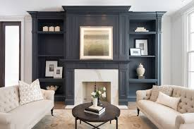 gray living room built ins