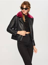 biker style jacket with faux fur collar
