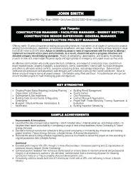 Construction Project Manager Resume Templates Construction Project